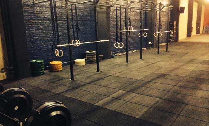 Rubber tiles for gym floor